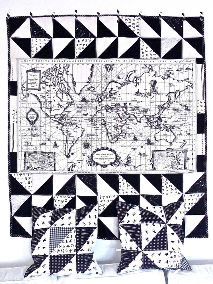 quilt mapa-mundo + almofadas