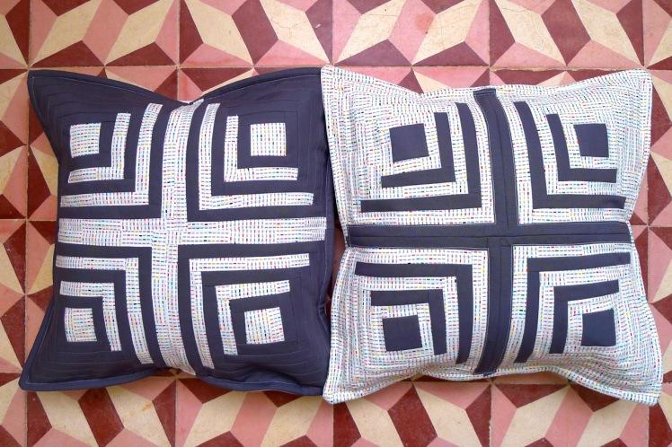 almofadas Log Cabin twins