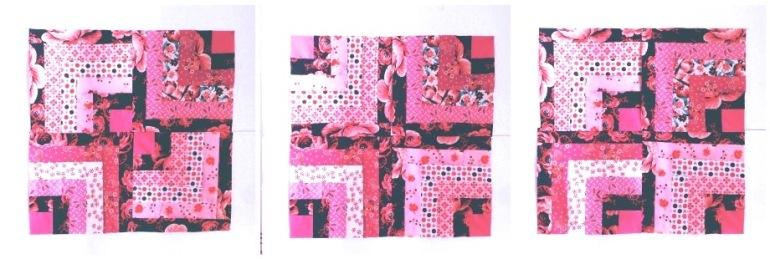 estudos Log Cabin rosa