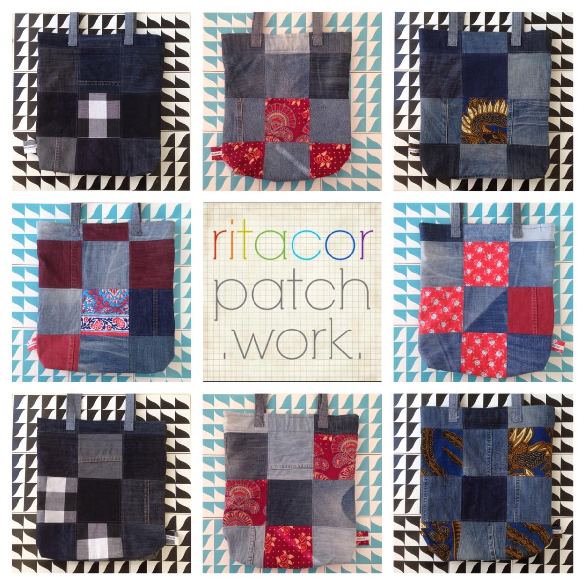 sacos de patchwork em ganga