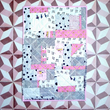 doll quilt pink & black