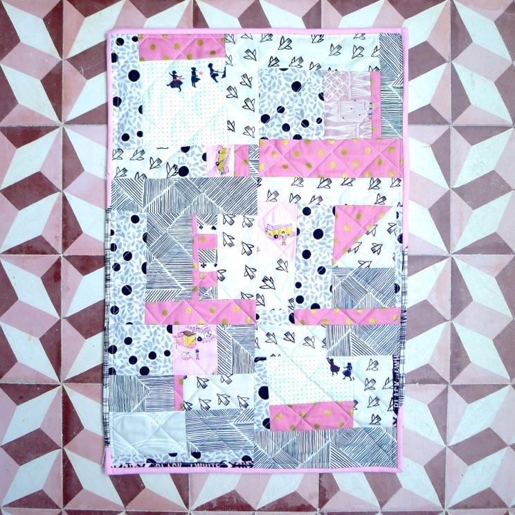doll quilt pink & black